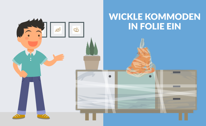 Kommoden in Folie wickeln